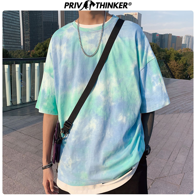Privathinker Tie Dye Oversized T Shirts 2020 Man Hip Hop T-shirts Korean Men Streetwear Tshirt Top Tees Men Clothing