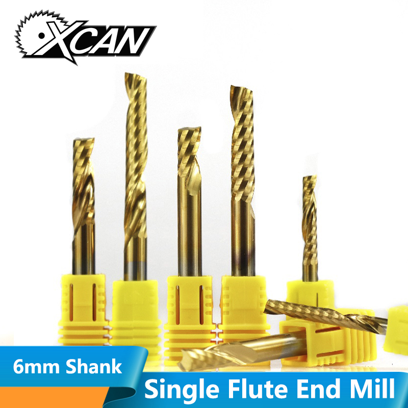 XCAN 1pc 6mm Shank Carbide Spiral End Mill Titanium Coated Single Flute Milling Cutter 1 Flute CNC Engraving Bit End Mill