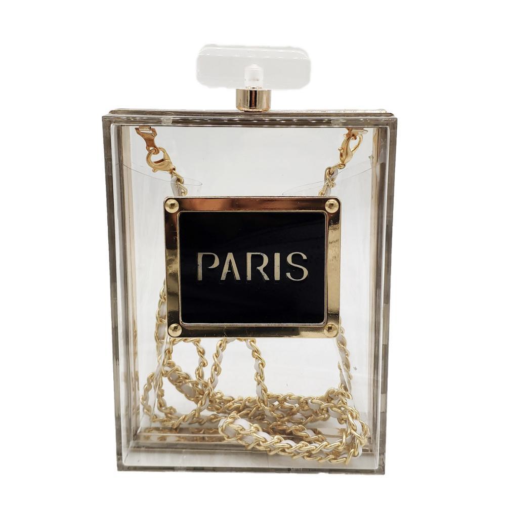 Boutique De FGG Paris Perfume Women Transparan Acrylic Clutch Evening Purses Ladies Summer Chain Shoulder Bags Crossbody Handbag