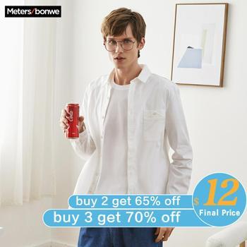 Мужская рубашка с длинным рукавом Metersbonwe, повседневная хлопковая приталенная рубашка в стиле смарт кэжуал, весна осень