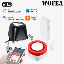 Wofea-Sensor DE AGUA WIFI con válvula de cierre automático, automatización de sirena inteligente Compatible con Alexa
