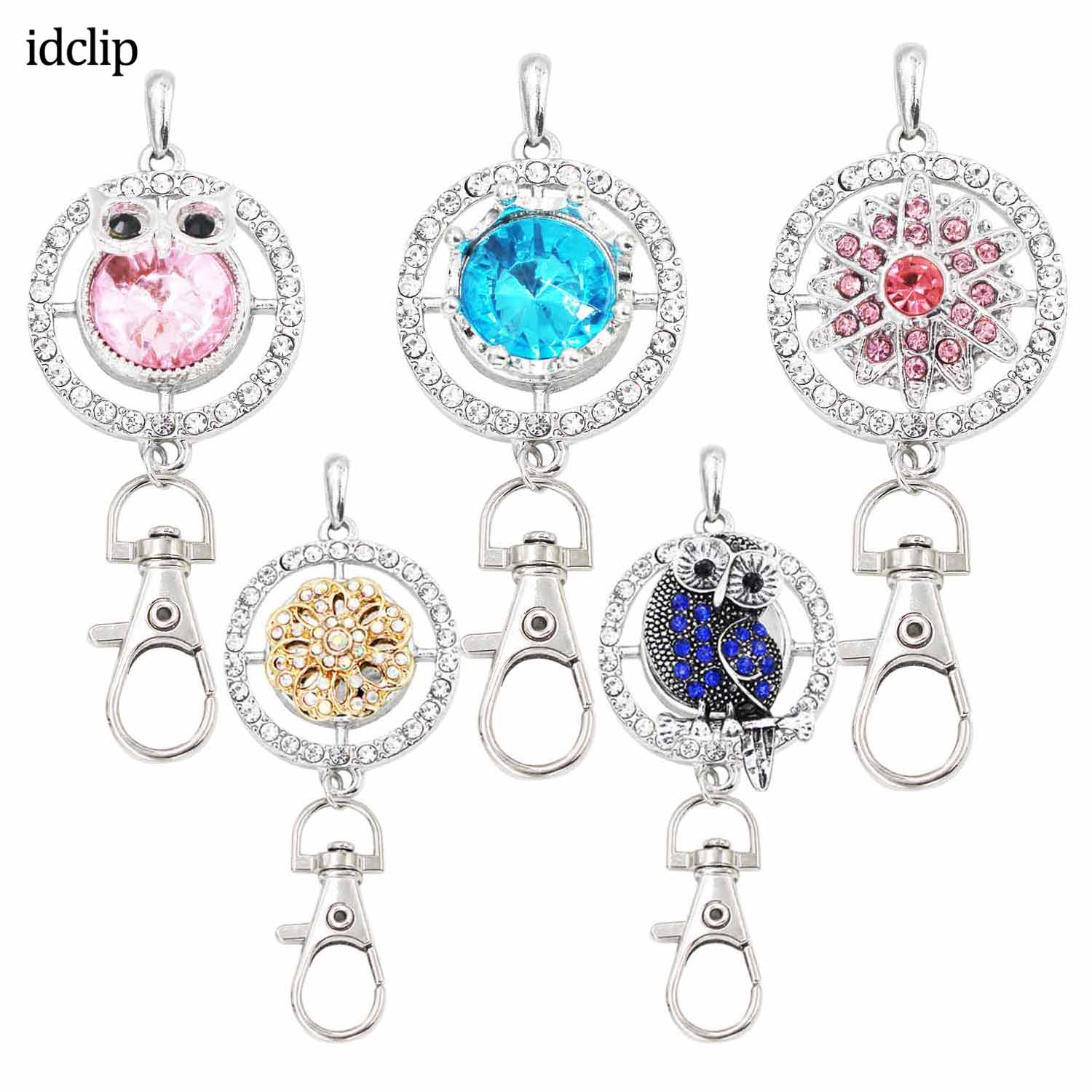 Idclip ID Lanyard Badges Holder Bling Necklace Owl Snap Jewelry Pink Charms Pendant Clip Womens Office Accessories