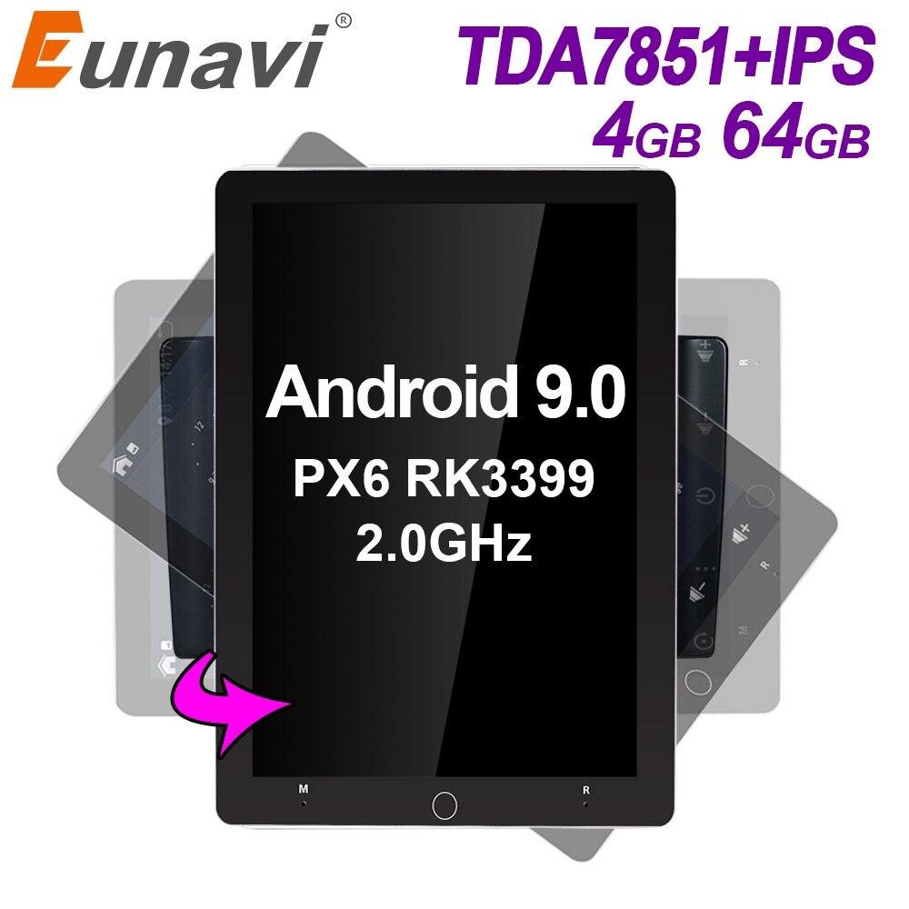 Eunavi 2 Din Android 9.0 Car Radio Multimedia Player Universal Stereo GPS Navigation TDA7851 IPS Electric Rotation Screen 4G 64G