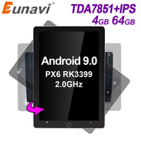 Eunavi 2 din Android 9.0 car radio multimedia player universal stereo GPS navigation TDA7851 IPS Electric rotation screen 4G 64G