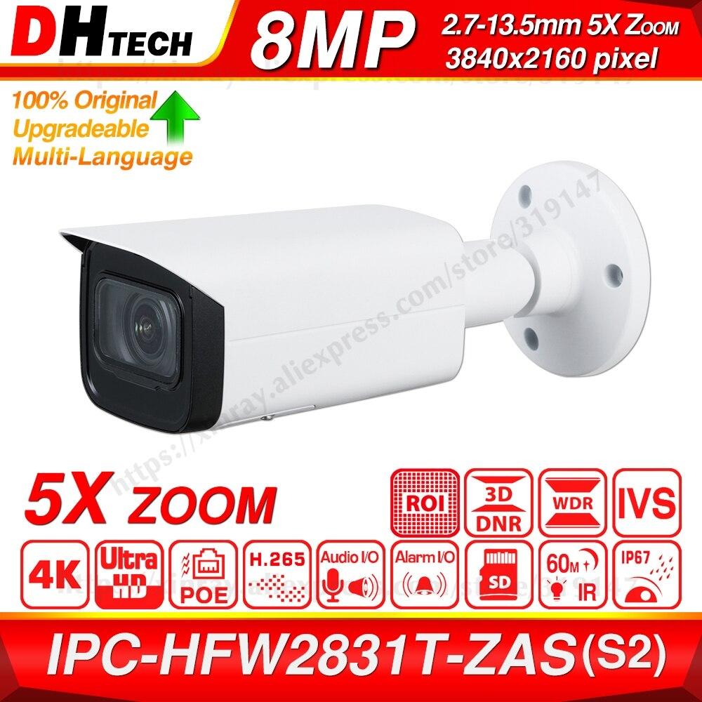 Dahua Original IPC-HFW2831T-ZAS-S2 8MP 4K 5X Zoom POE SD Card Slot Audio Alarm I/O H.265+ 60M IR IVS IP67 Starlight IP Camera