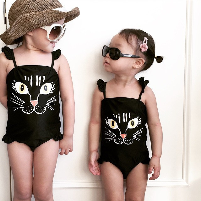 Beach Vacation Style Girls Dress-Tour Bathing Suit Cat Cute Cartoon Swimsuit With Shoulder Straps New Style One-Piece