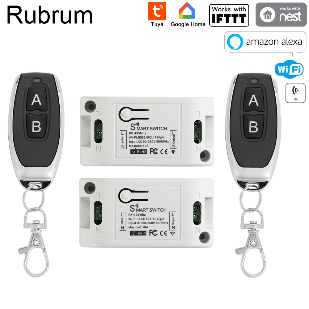 Rubrum RF 433 110V 220V Receiver Smart Home Wifi Wireless Remote Control Smart Switch Smart Life/Tuya APP Works With Alexa Home title=