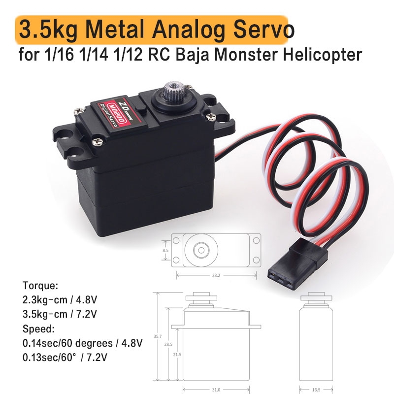 M0200 20g 3.5kg Metal Gear mini Servo for 1/16 1/14 1/12 RC Car Carson WPL Wltoys HSP JJRC ZD Racing RC Buggy Truck Truggy Cr