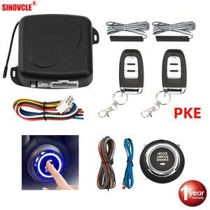 Sinovcle Автомобильная сигнализация с дистанционным управлением, автозапуск без ключа, система запуска двигателя, кнопка дистанционного старт...