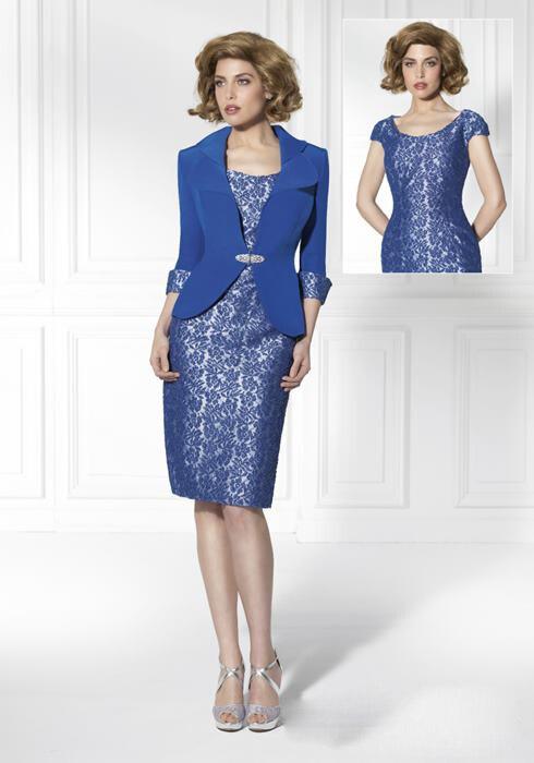 Short Navy Blue Lace Mother Of The Bride Dresses Suits With Jacket Knee-Length La Madre De La Novia Vestidos De Encaje MBD18