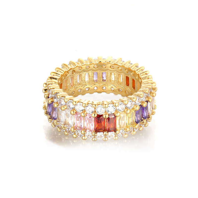 Wanita Mewah Emas Cincin CZ Pelangi Cincin Aksesoris untuk Wanita Colorful Zircon Crystal Cincin Adjustable Perhiasan Femme Hadiah