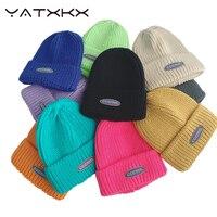 [YaTxKx] Blends Solid Warme Weiche Hüte Für Männer Gestrickte Hüte Männer Winter Caps Für Frauen Skullies Mützen Für mädchen Großhandel шляпа
