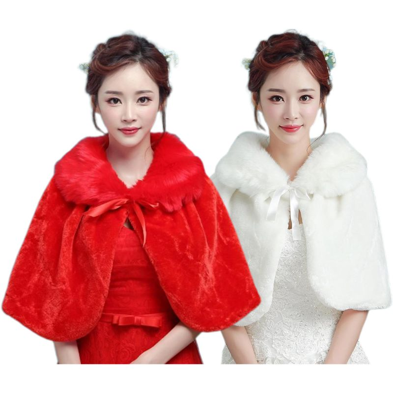 Womens Winter Thicken Plush Wrap Stole Elbow Length Wedding Bridal Shawl Cape Warm Jacket Shrug With Lace Up Ribbon Bowknot