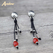 Anslow Wholesale Creative Design Fashion Jewelry DIY Wrap Leather Resin Beads Women Drop Earrings Girl Couple LOW0144AE