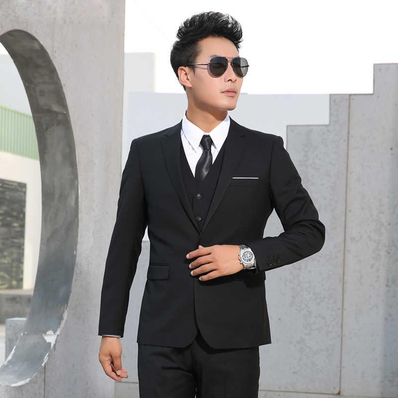 Garnitury męskie Slim Fit Business formalny Casual klasyczny garnitur ślubny pan młody na imprezę bal jednorzędowy jednokolorowy czarny szary granatowy