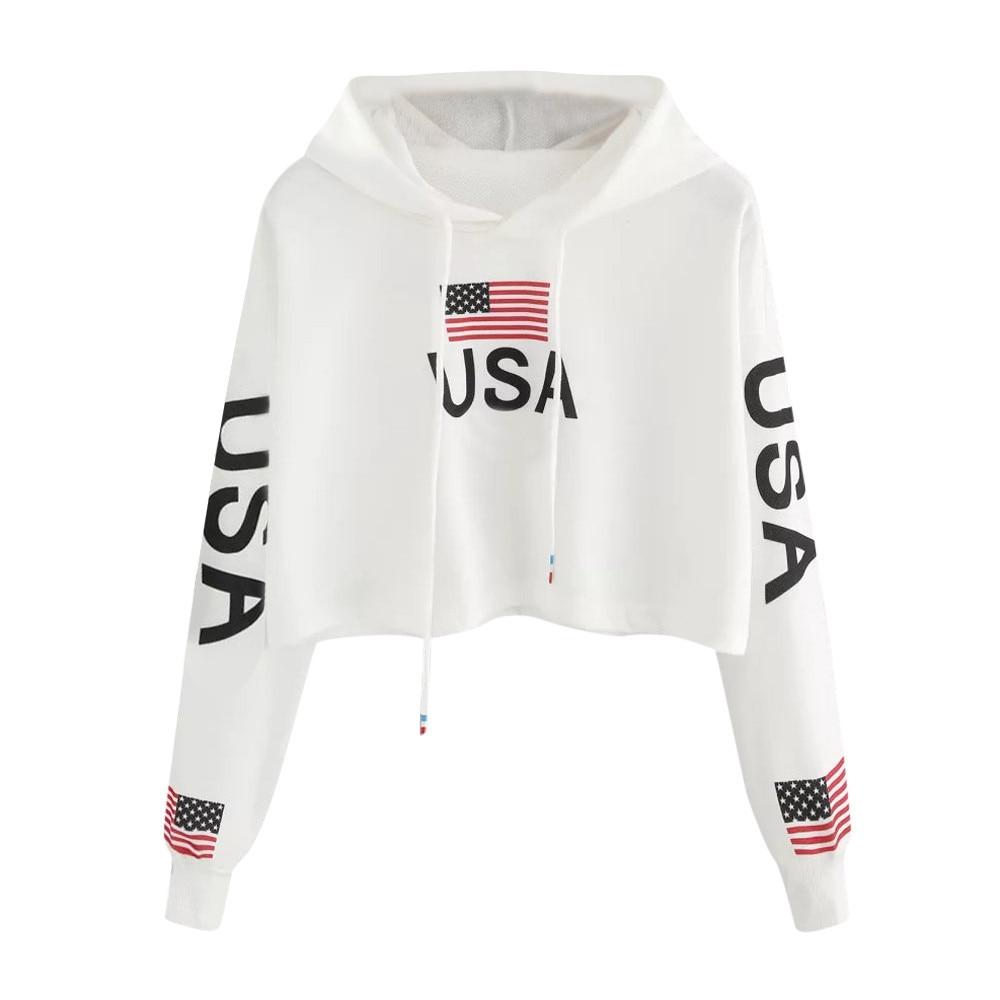 Bandeira americana eua letras imprimir hoodie feminino outono harajuku casual camisola curta cordão branco com capuz pulôver topo # y3