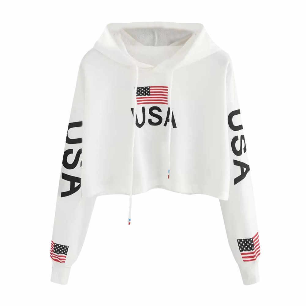 미국 국기 미국 편지 인쇄 까마귀 여성 가을 하라주쿠 캐주얼 짧은 운동복 흰색 Drawstring 후드 풀오버 탑 # Y3