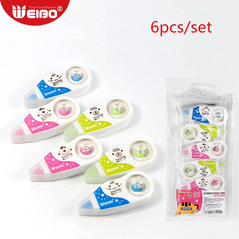 6pcs/pack Cartoon Correction Tapes Stationery For School Supplies 5mm*5m Kawaii School Supplies