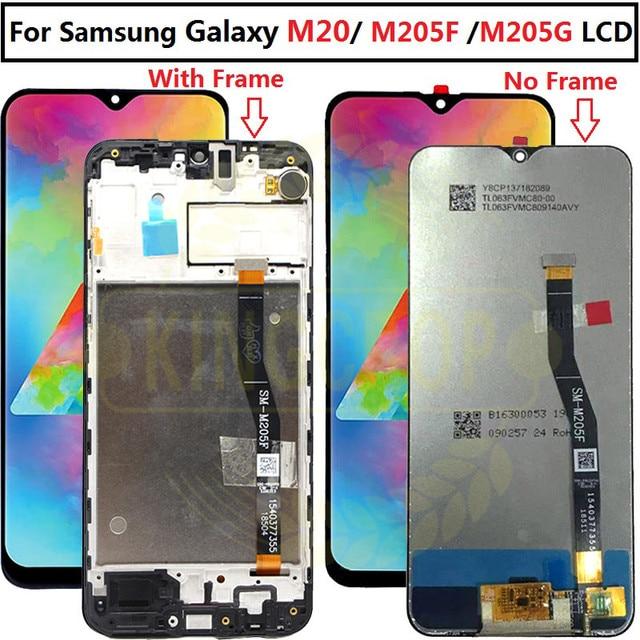 6.3 لسامسونج غالاكسي M20 2019 SM M205 M205F M205G/DS LCD مع الإطار عرض تعمل باللمس محول الأرقام الجمعية استبدال M20 lcd
