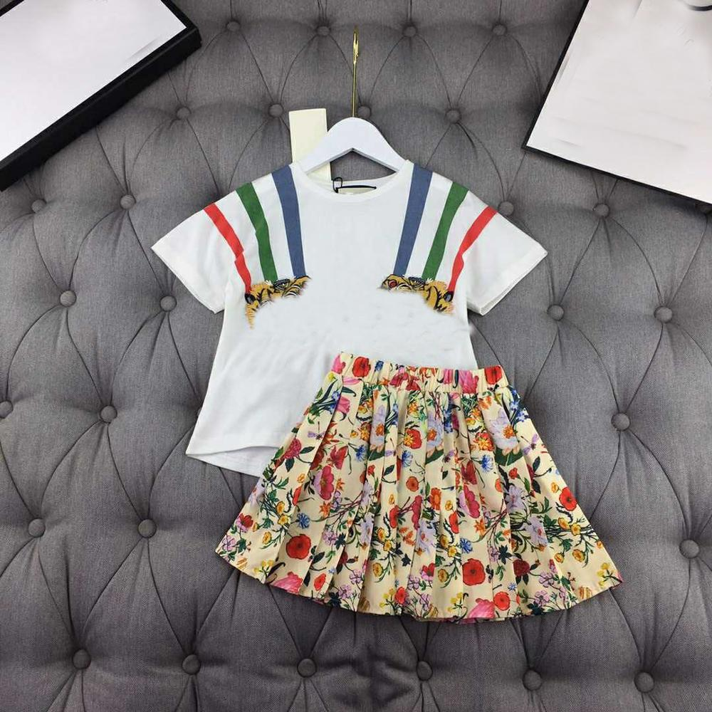 Y4198 Patched tiger head cotton short sleeve shirt & skirt suit girl summer set brand high end quality clothing set for big girl Clothing Sets  - AliExpress