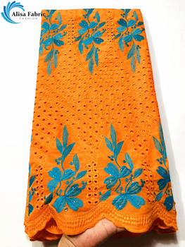 Alisa 2020 Hot Selling Orange Swiss Voile Lace Fabric 5 Yards/pcs African Dry Lace Fabric Nigerian Lace For Sewing XS03058835-90