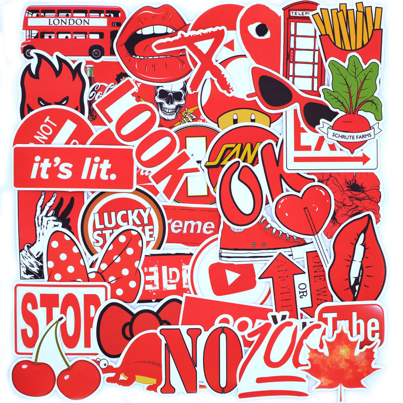 50 PCS Red Brand Cool Fashion Sticker Pack For Children Skateboard Laptop Phone Travel Suitcase Waterproof Stickers