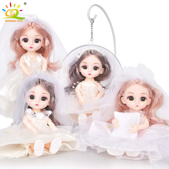6pcs 5.9inch 13 Moveable Fashion bjd Boneca Dolls Joint body Ball Jointed Reborn Wedding Dress Make Up Dolls Toys Gift For Girls 1