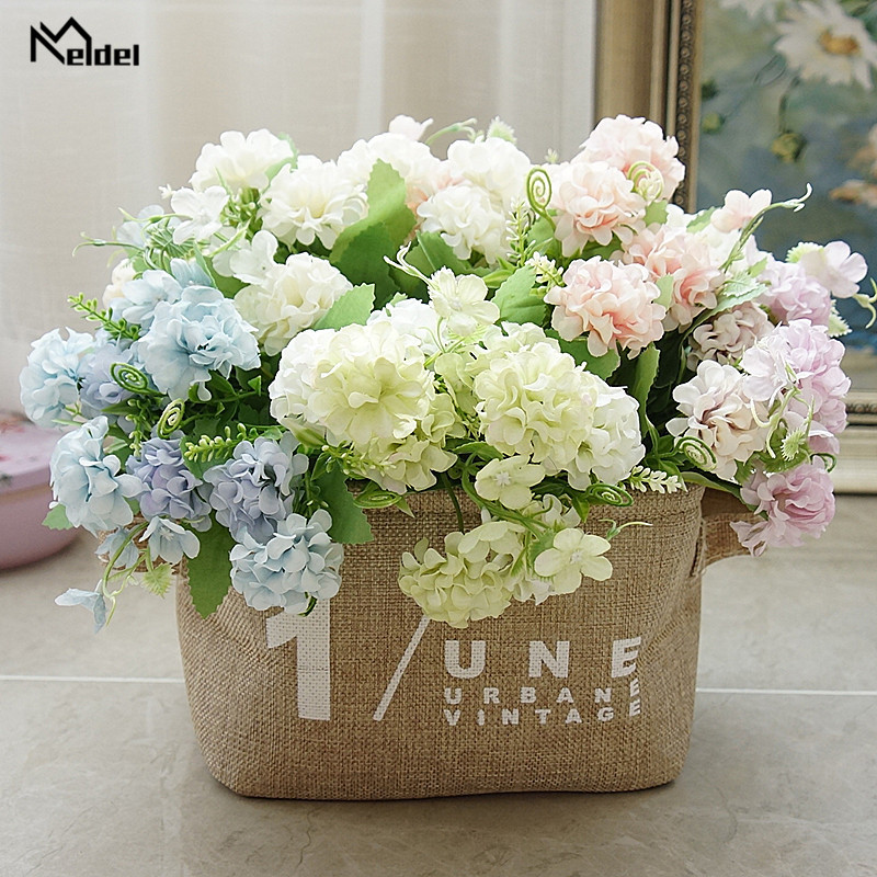 Meldel 5 Branches Silk Lucky Ball Artificial Flower Bouquet White Big Faux Fake Flower Home Decoration Wedding Party DIY Arrange