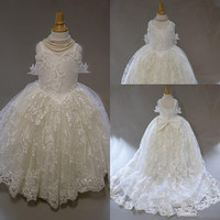 Flower Girl Dress Sweetheart Sleeveless Tulle Lace Applique Ruched Wedding Girl Dress Sweep Train Girl's Birthday Party Gown