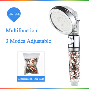 VIP link Zhang Ji New Replacement Filter balls SPA shower head with stop button 3 Modes adjustable shower head(China)