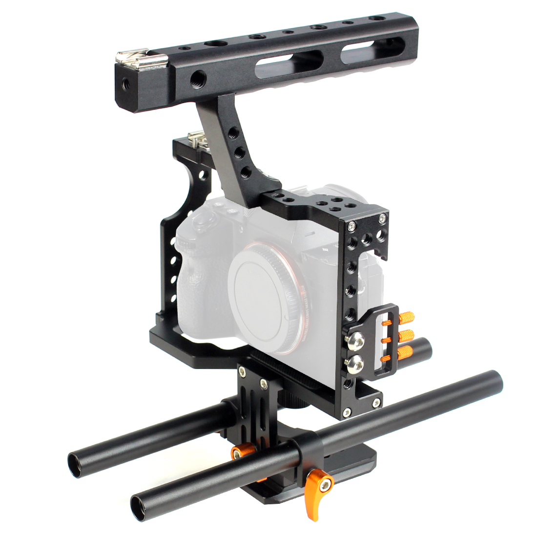 Aluminum Alloy Camera Cage Video Film Stabilizer Rig + Top Handle Grip + Rod for Sony A7II A7R A7SII A6000 A6500 Panasonic GH4