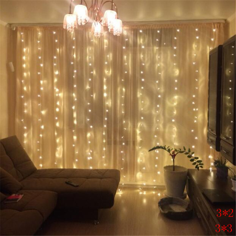 New Year 3M X 3M Outdoor Curtain Icicle 300LED String Lights 8 Modes Fairy Garland Home For Christmas Holiday Wedding Party