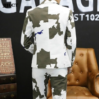 Korean version of the small suit two sets of tide men's suits set body handsome youth camouflage casual jacket