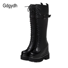Platform Boots Heel Wedges Goth Knee-High Lace-Up Zipper Metal Black Fashion Gdgydh