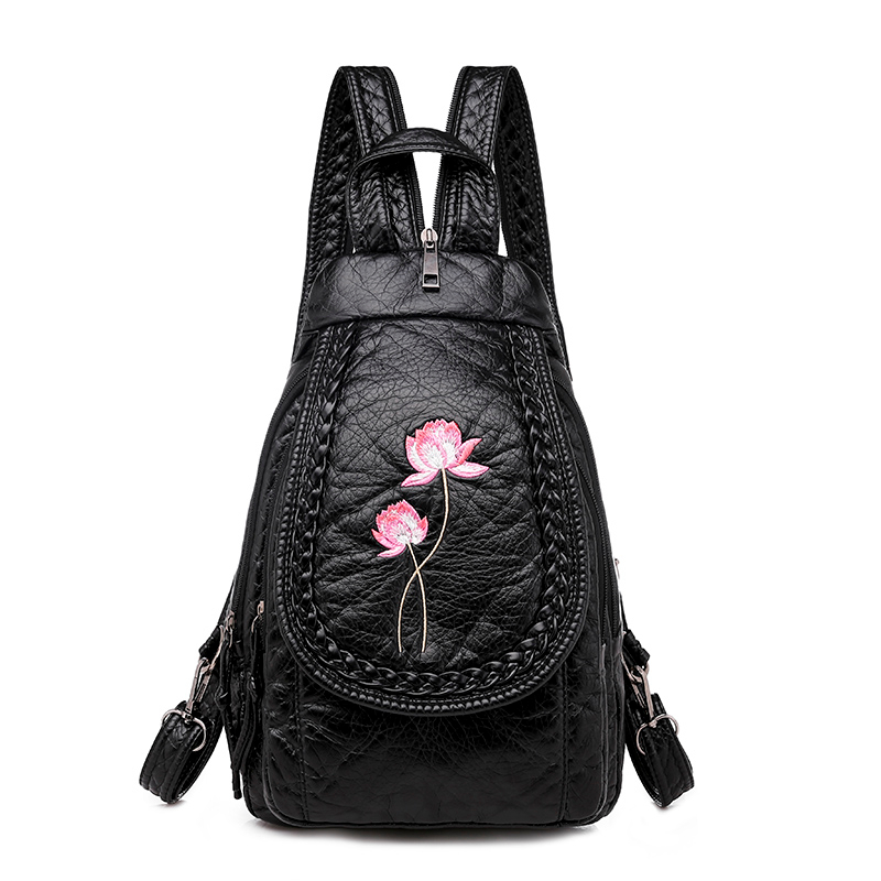 3-in-1 Embroidery Flowers Leather Backpacks For Girls Sac A Dos Vintage Chest Bag Women Soft Leather Backpacks High Quality New