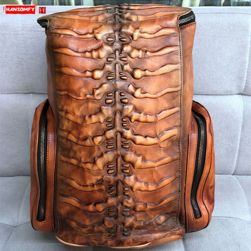 Large-capacity Men's Backpacks Vintage Leather Laptop Bag Travel Backpacks Male Schoolbag Retro Stained Old Bone Genuine Leather