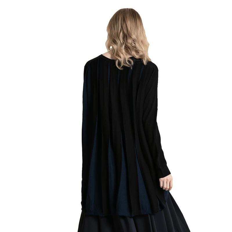 Women Loose Cardigan Coat Double Pocket Design Sweater Jacket V Neck Casual Long Knitted Cardigan Pleated Jumper Top 2019 Autumn in Cardigans from Women 39 s Clothing