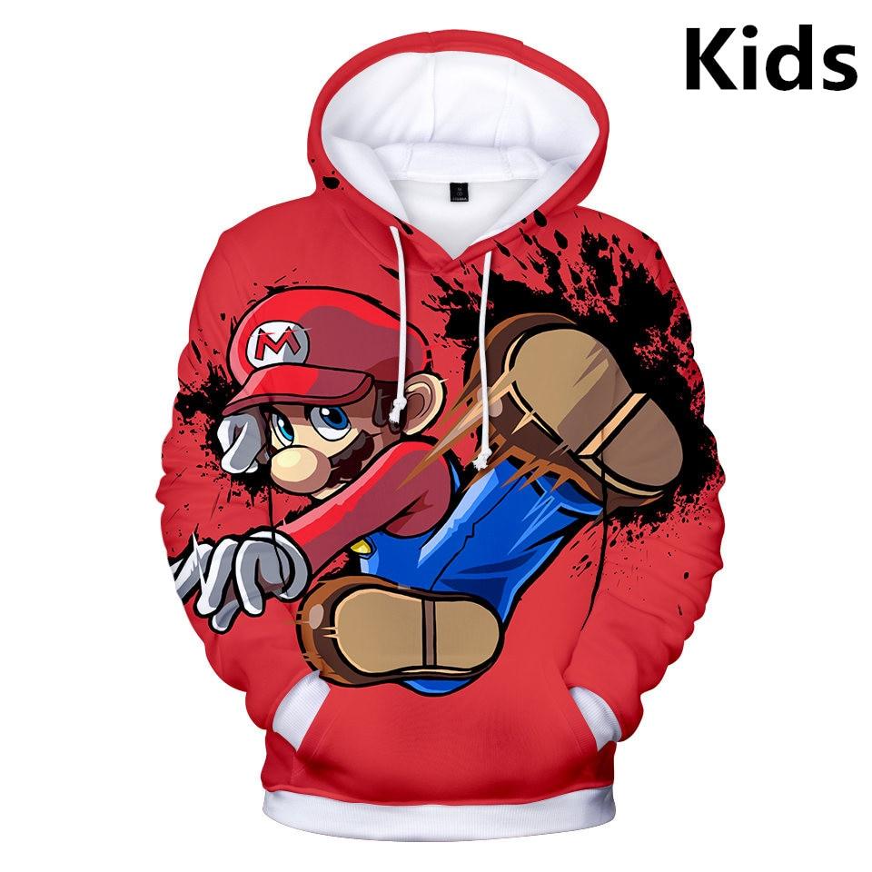 2 To 13 Years Kids Hoodies Game Super Mario Bros 3D Printed Hoodie Sweatshirt Boys Girls Outerwear Jacket Coat Children Clothing