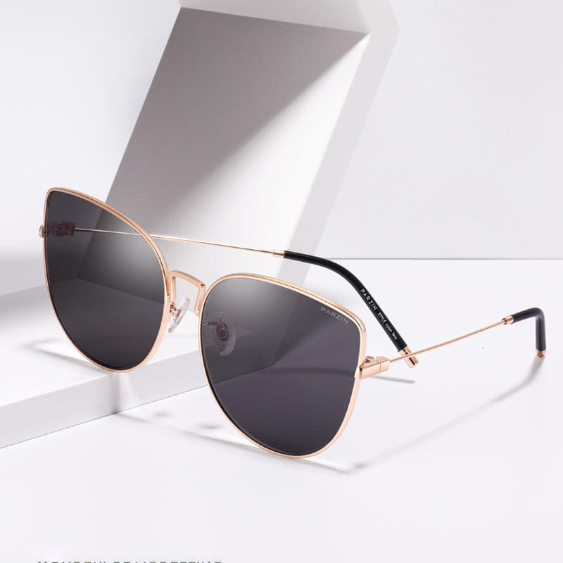 PARZIN Luxury Women Sunglasses High Quality Big Frame Sun Glasses UV400 Protection Brand Designer Metal Frame Lens Glasses