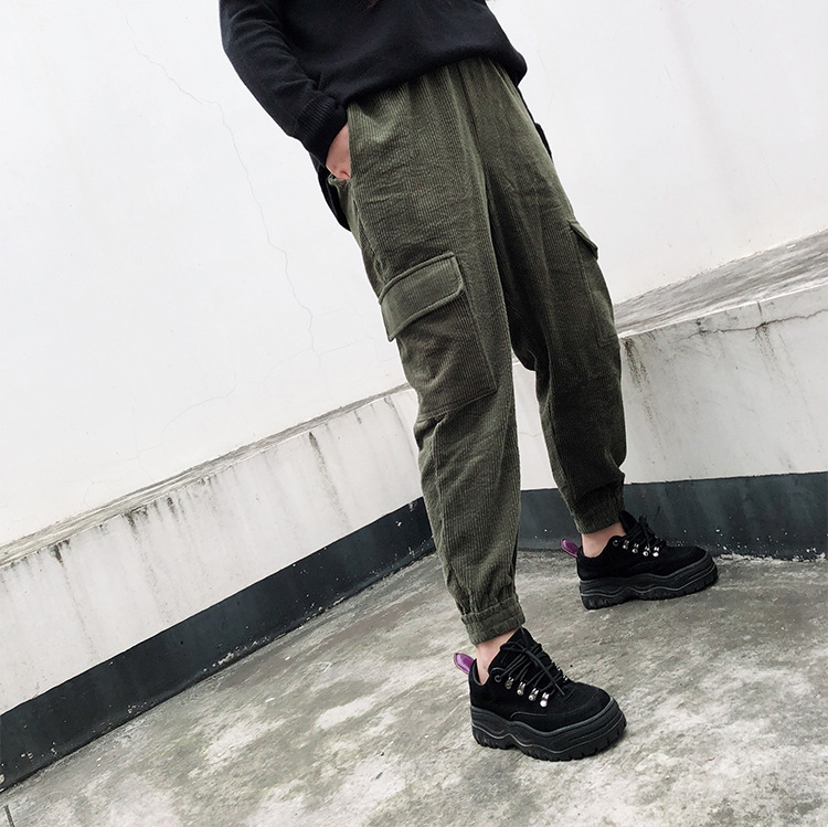 Large Size Dress Winter New Style High-waisted Workwear Version Corduroy Harem Pants Thick Skinny Pants Chubby Size
