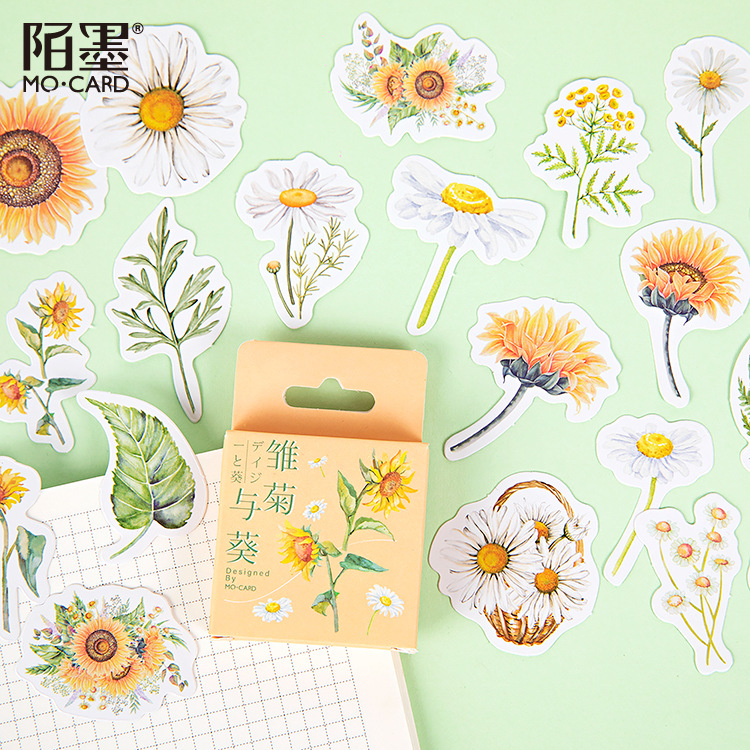 46pcs/pack Daisy Sunflower Label Kawaii Diary Handmade Adhesive Paper Flake Sticker Scrapbooking Stationery Decor Diy
