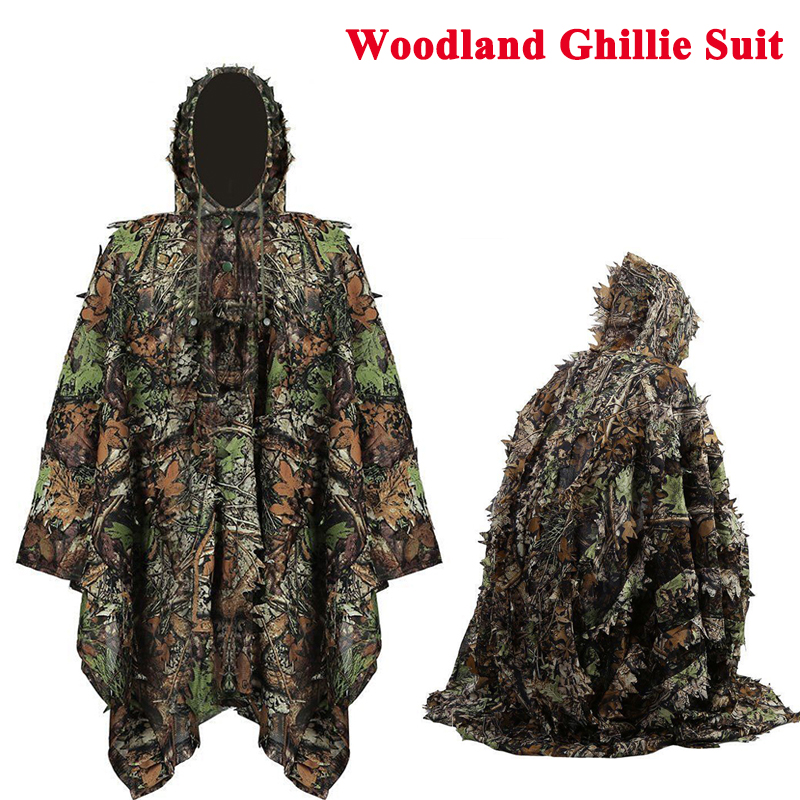 3D Woodland Leaves Cloak Tactical Clothes Outdoor Camouflage Airsoft Hunting Ghillie Suits Hunting Blind Uniform