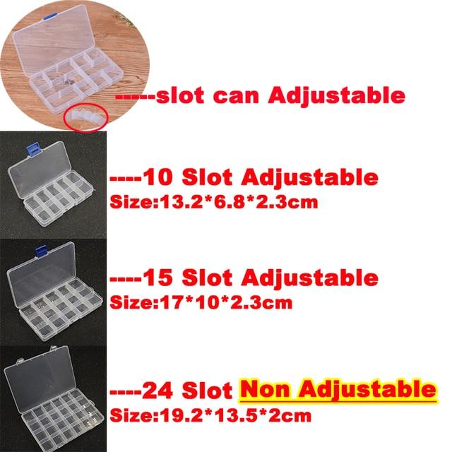 Yidensy 1pcs Square Transparent Plastic Storage Box Case 10/24 Slot Adjustable for Pils Jewelry Beads Earring Case Organizer 2