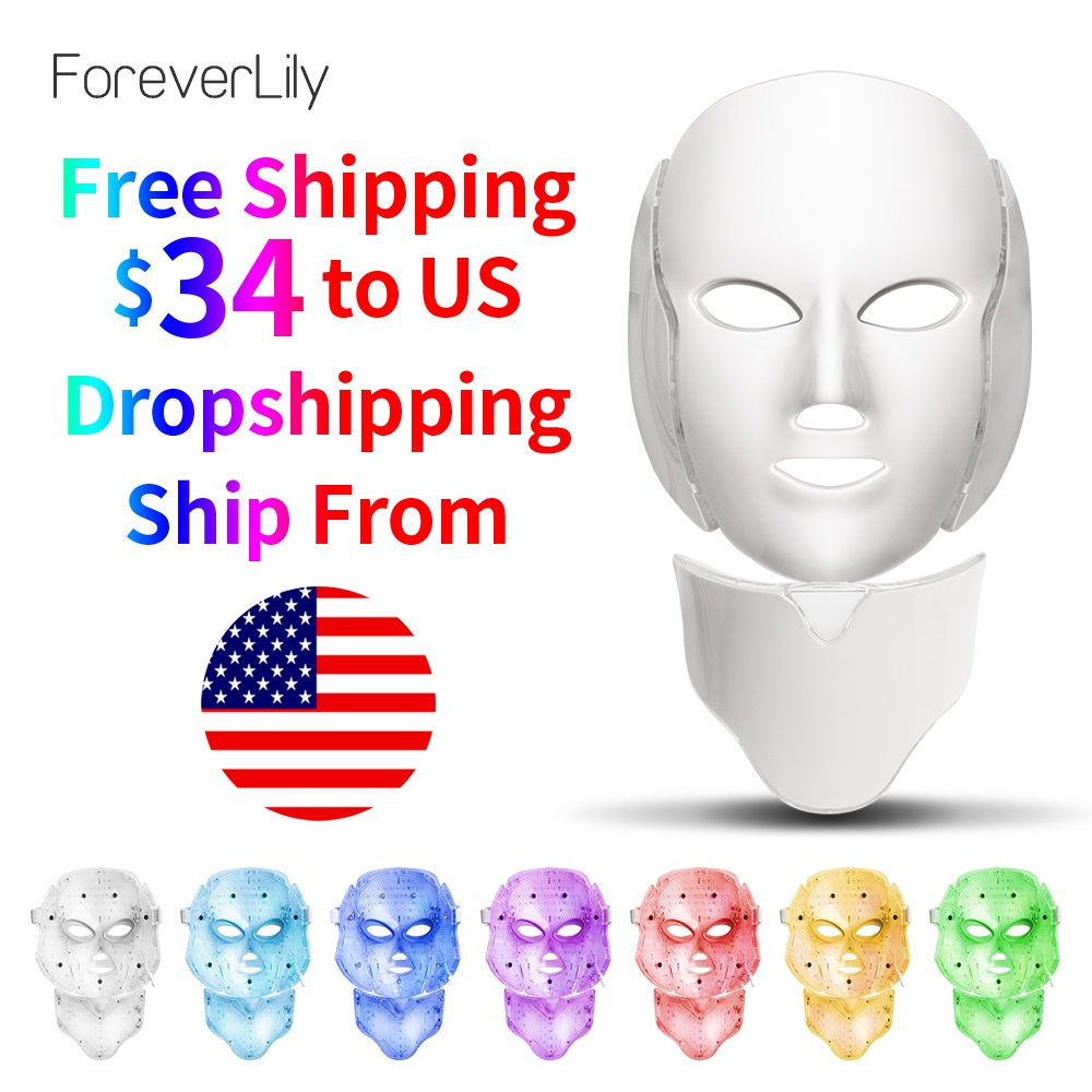 Foreverlily LED Light Photon Therapy Mask 7 Color Light Treatment Skin Rejuvenation Whitening Facial Beauty Daily Skin Care Mask-in Face Skin Care Tools from Beauty & Health