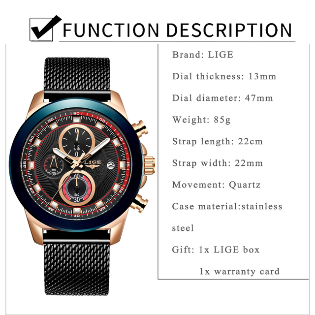 LIGE 2019 Fashion Mens Watches Top Brand Luxury Waterproof Business Wrist Watch Quartz Watch Men Sport Chronograph reloj hombre
