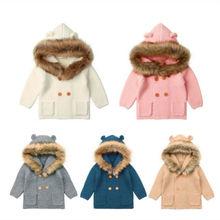 Winter Warm Newborn Baby Boy Girl Knit Hooded Coat Fur Collar Jacket