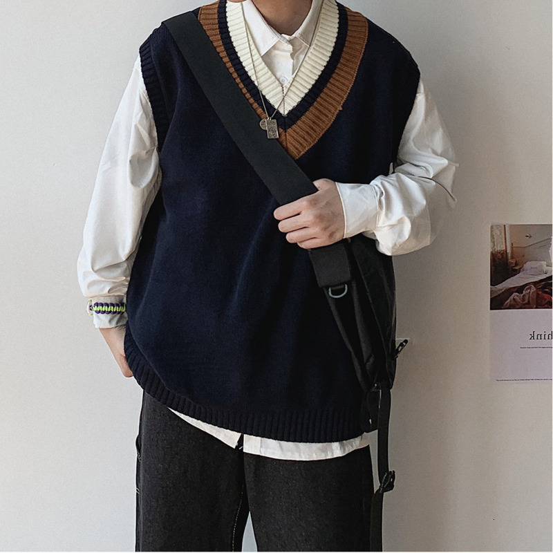 Men's sweater vest 2019 autumn and winter new retro sweater vest V-neck sweater vest youth personality trend men's clothing
