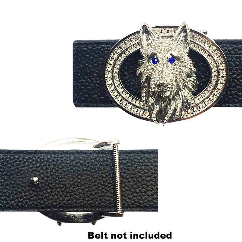 Vintage Wolf Head Icon Men's Solid Brass Belt Buckle Suitable For 4 Cm Width Belts Cowboy Accessories  Heavy Metal Fashion