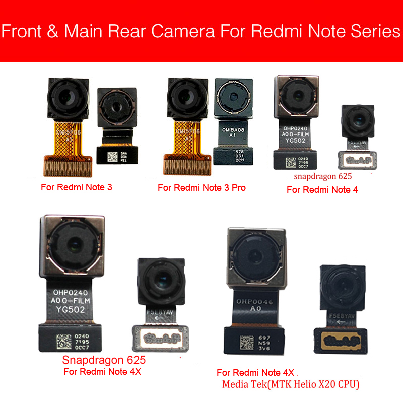 Back And Rear Camera Module For Xiaomi Redmi Hongmi Red Rice Note 3 4 4X Pro Small Big Main Camera Flex Cable Replacement