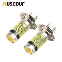 H7 lampada della nebbia 100W giallo dorato 3000k luce di nebbia lampada con lente del proiettore funzione h3 h4 h7 h11 hb3 hb4 lampada della nebbia modifica